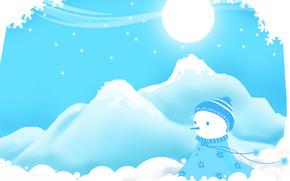 Los copos de nieve, mueco de nieve, invierno, Diapositivas, derivas
