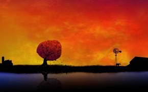 papel de parede, fundo, aldeia, pr do sol, laranja