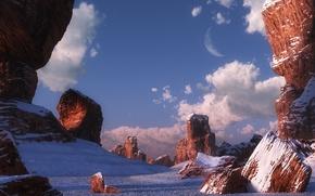 Felsen, Schnee, Himmel