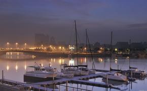 city, night, wharf