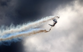 самолет,  след,  дым,  небо
