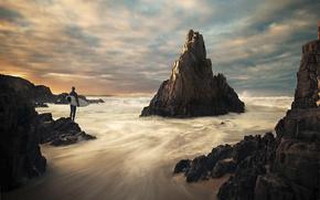 mar, rocas, hombre