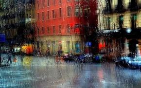pioggia, vetro, citt