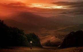 lantern, Mountains, strange