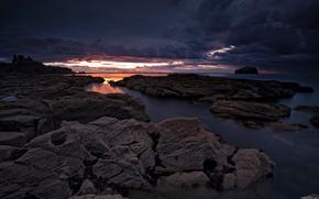 Sonnenuntergang, Wolken, Meer