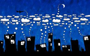 chmury, miasto, humor