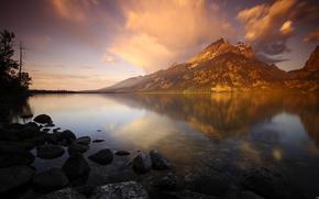 alba, lago, Montagne
