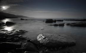 sunset, sea, stones