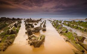 clouds, sea, stones