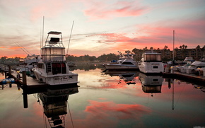Boat, sunset, wharf, sky