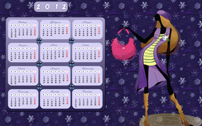 anime, calendar, desktop calendar 2012, girl