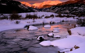 rivire, neige, Montagnes, hiver