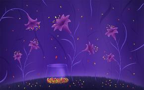 цветы, лилии, рисунок, яркий, фиолетовый, конфеты