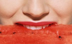 губы, зубы, рот, арбуз