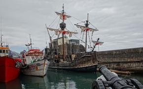 wharf, Ships, gun