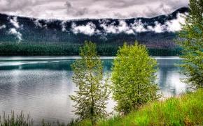 lago, Montagne, cielo, paesaggio