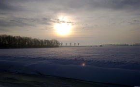 inverno, neve, tramonto, paesaggio