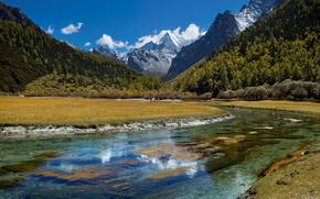 river, Mountains, sky, landscape, beauty