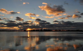 озеро,  небо,  природа,  закат,  пейзаж