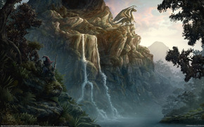 фентези, dragon, Mountains