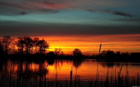 sunset, sky, clouds, lake, nature, landscape, beauty