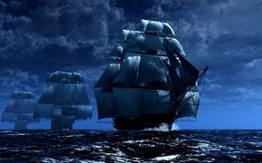 navires, mer, ciel, voile