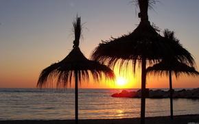 sunset, sea, sun, nature