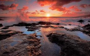wybrzee, morze, chmury, soce, zachd soca