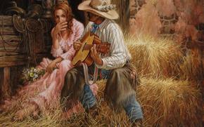 свидание, two, love, Flowers, guitar