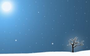 arbre solitaire, hiver, Flocons de neige, soleil