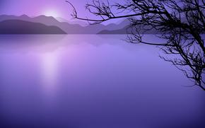озеро, вектор, минимализм
