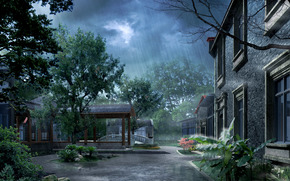 Photoshop, pioggia, cantiere