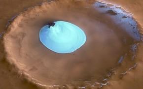 crter, hielo, Marte