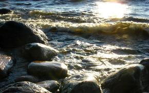 waves, stones, lake