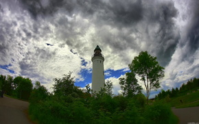 lighthouse, sky, summer