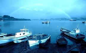 Regenbogen, Meer, Port, Kste, Dalcahu, Chili, Boot
