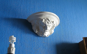 wall, blue, sculpture, marble, lamp