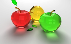 apples, Green, red, glass