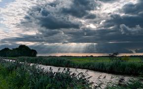 небо,  река,  поле,  пейзаж
