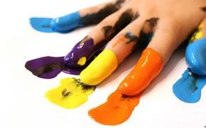 рука, краска, след