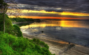 sea, coast, nature, sunset, HDR
