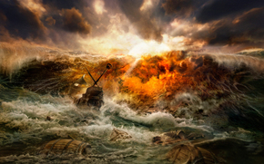 кораблекрушение, wave, storm