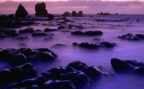 piedras, rocas, agua, niebla