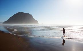 mare, cielo, sabbia, silhouette