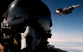 plane, cabin, helmet, reflection, sky