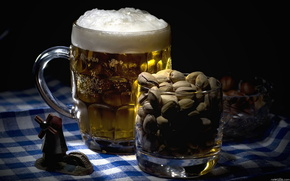 beer, goblet, Nuts, BEAUTY