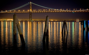 river, bridge, night, light
