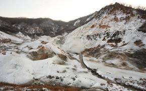 горы,  снег,  ручей,  холодно