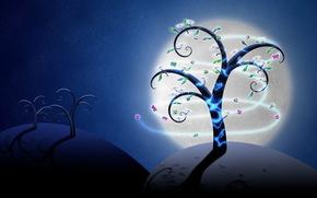 tree, Butterflies, Stars, glow
