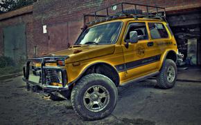 нива,  жёлтая,  hdr,  4х4, автомобили, машины, авто